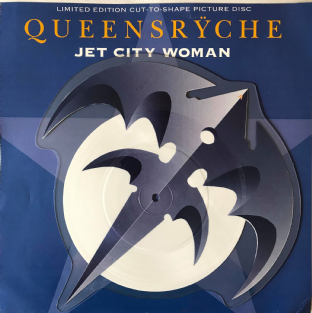 "Queensryche - Jet City Woman (7"") (Shaped Picture Disc) (EX-/EX-)"